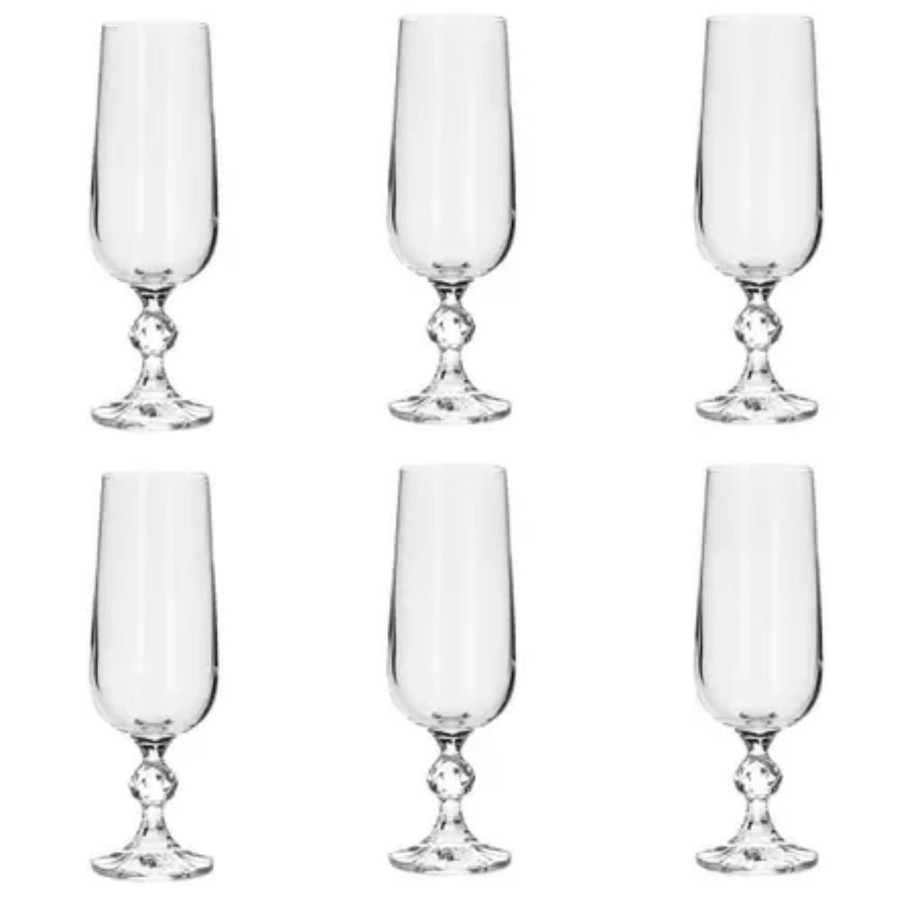 Jogo 6 Taça de Vidro para Champagne 180ml Klaudie - 17 cm