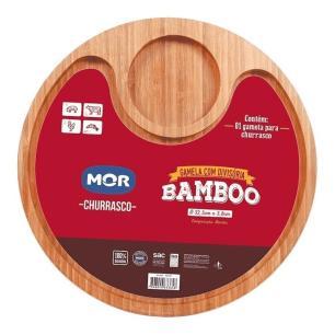 Gamela em Bamboo p/Churrasco com 2 Divisórias MOR - 32,5 cm