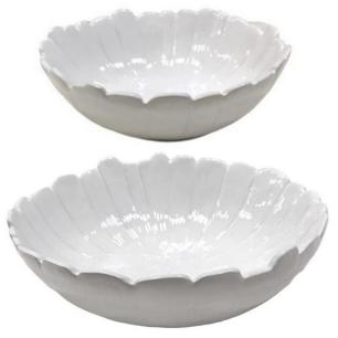 Kit Centros de Mesa Banana Leaf em Cerâmica 2Pcs Branco Lyor