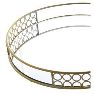 Bandeja Dourada Decorativa Espelhada metal 33cm - Bela Flor
