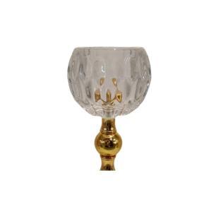Castiçal em Vidro Dourado c/base em Metal Candle Holder 15cm