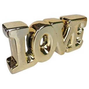 Enfeite Decorativo Love Dourada Cerâmica- INTERPONTE