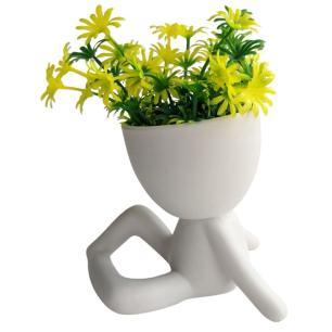 Vaso Decorativo Bob Branco Sentado com Planta 12cm - AMIGOLD