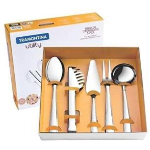 Jogo de utensílios com 5 peças Utility aço inox Tramontina