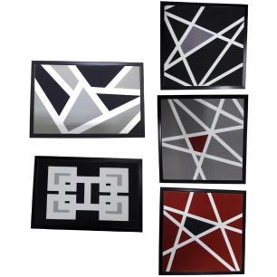 Conjunto 5 Quadros Decorativos Plástico Abstrato - Amigold