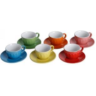 Jogo de 6 Xícaras com Pires Mary Colors 90 ml - Bon Gourmet