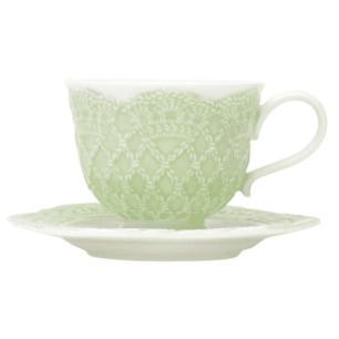 Jogo de 6 Xícaras em Porcelana para Café c/Pires 90ml Verde