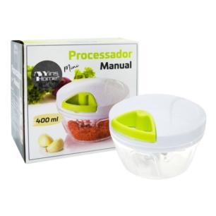 Mini Processador de Alimentos Manual 3 Lâminas em Aço 400ml