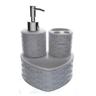 Jogo para Banheiro 3 Peças em Cerâmica Cinza - Full Fit