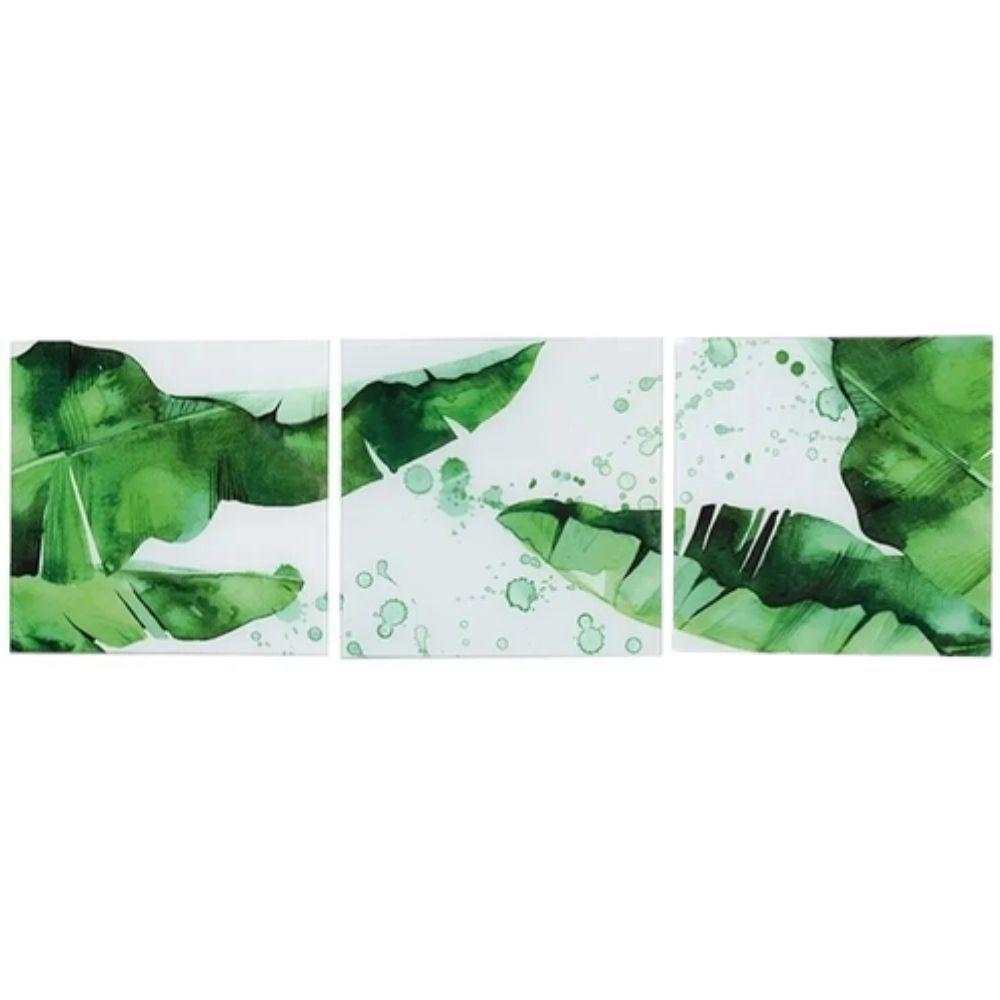 Conjunto 3 Quadros de Vidro Luxo Paisagem Green - Jolitex