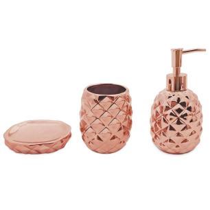Jogo para Banheiro Abacaxi 3 Peças em Cerâmica Bronze