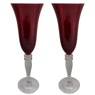 Jogo de 6 Taças p/Champanhe em Vidro Vermelho 170ml