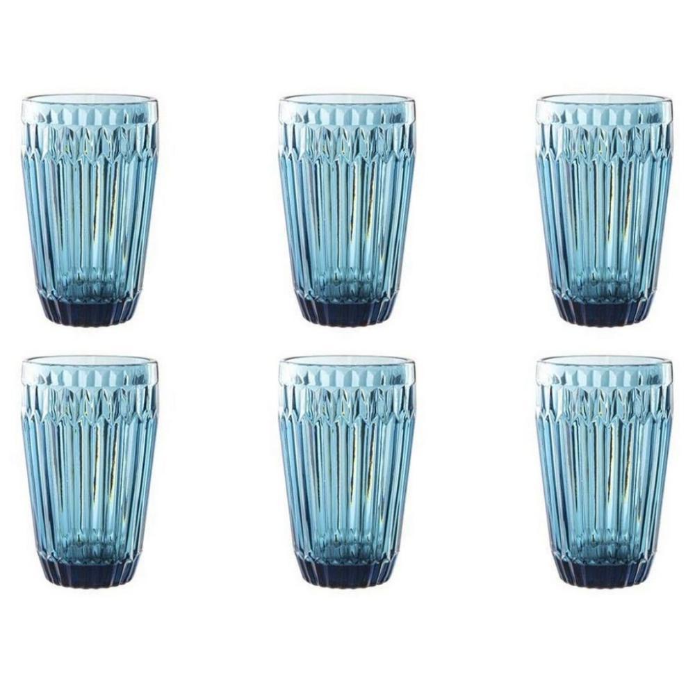 Conjunto de 6 Copos Bretagne em Vidro 355ml Azul - Full Fit