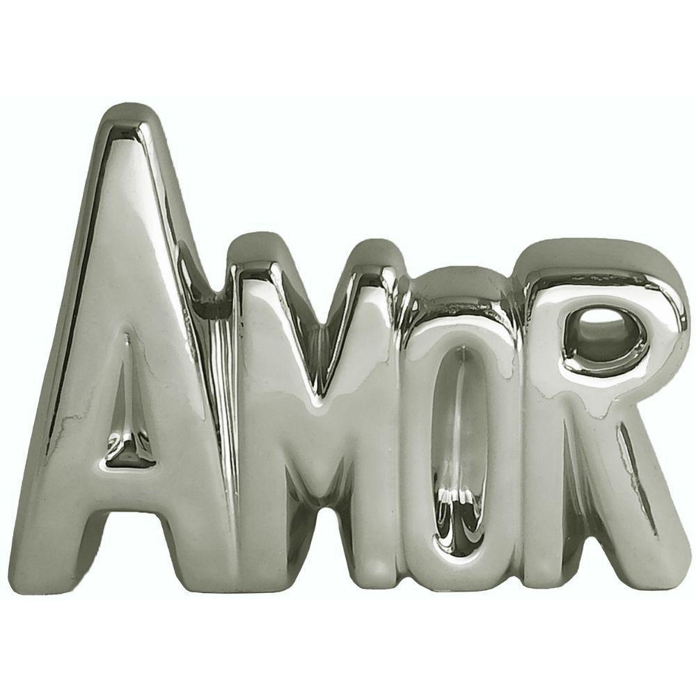 Enfeite Decorativo Amor em Cerâmica 15 cm Prata - INTERPONTE