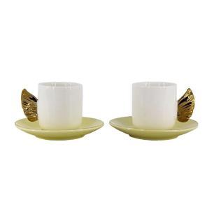 Jogo de Xícara 4 peças para Café Porcelana Alça de Asa 90ml