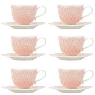 Jogo de 6 Xícaras c/ Pires em Porcelana para Café 90ml Rosa