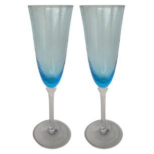 Jogo de 6 Taças p/Champanhe Vidro Azul 230ml - Montarte