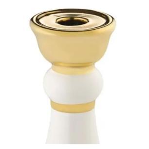 Castiçal em Cerâmica Branco com Dourado 20x7cm - BENCAFIL