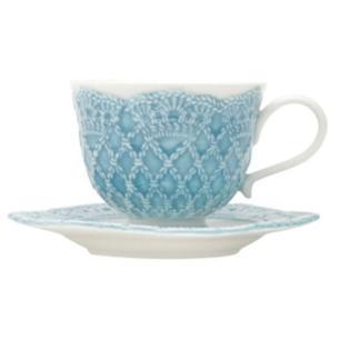 Jogo de 6 Xícaras em Porcelana para Café c/Pires 90ml Azul