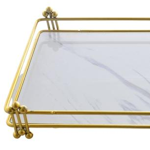 Bandeja Decorativa Retangular Golden em Cerâmica/Metal 34cm
