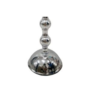 Castiçal em Vidro Prata c/base em Metal Candle Holder 14,4cm