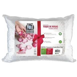 Travesseiro Toque de Rosas Plumax Lavável 50x70cm - Branco