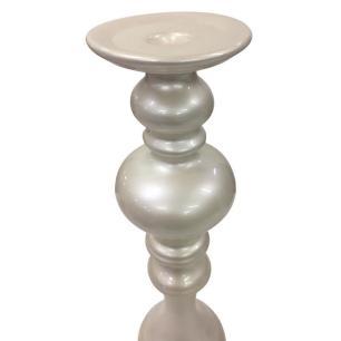 Castiçal Khafila em Cerâmica Branco Pérola 35cm - Ana Maria