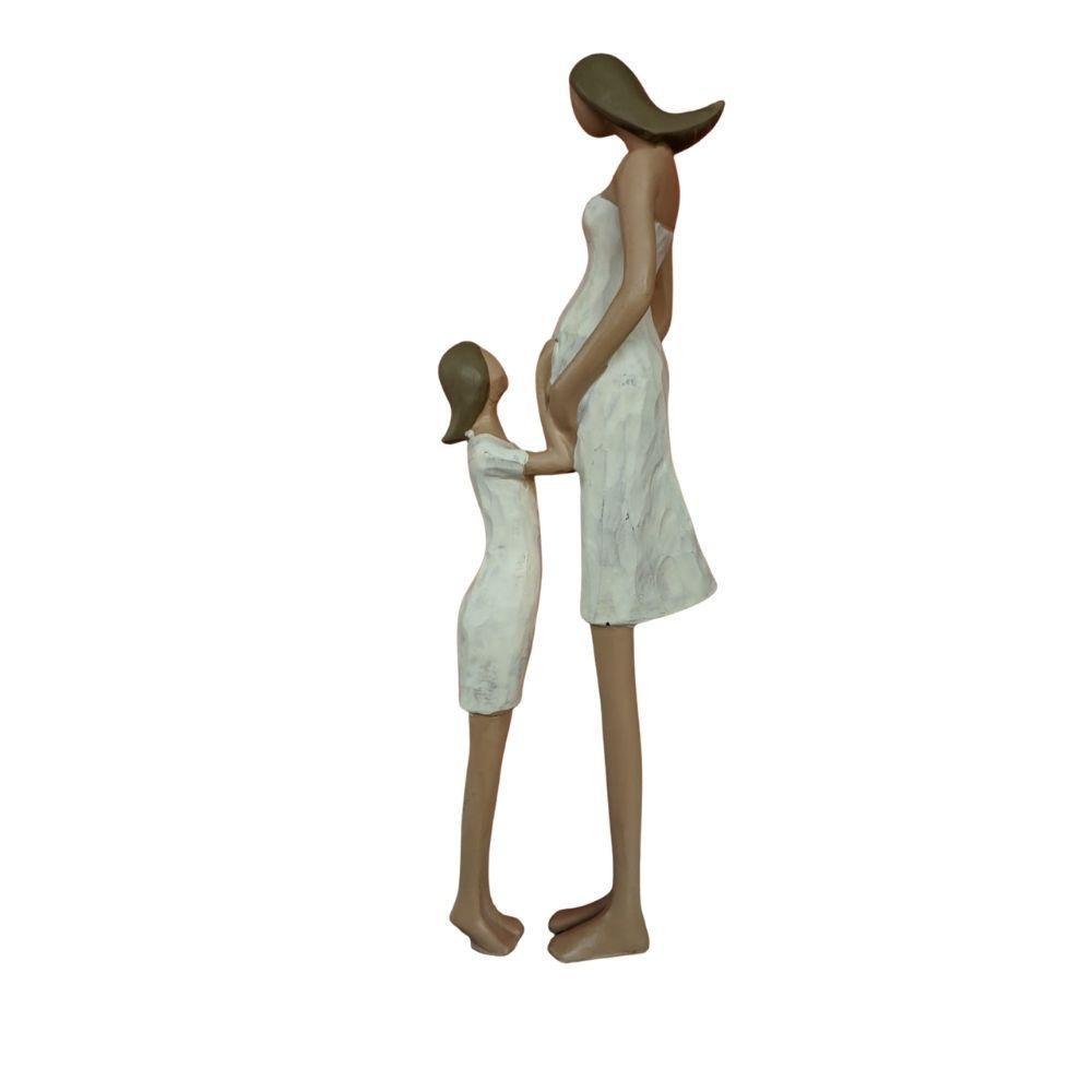 Escultura Mãe e Filha em Resina 24cm - Mabruk