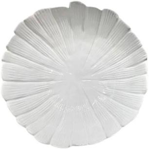 Centro de Mesa Banana Leaf em Cerâmica Ø25cm Branco - Lyor