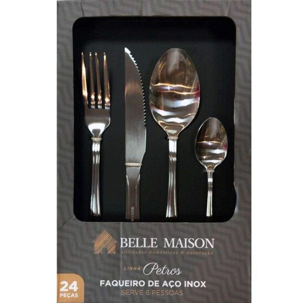 Faqueiro 24 peças Linha Petros Aço Inoxidável Belle Maison