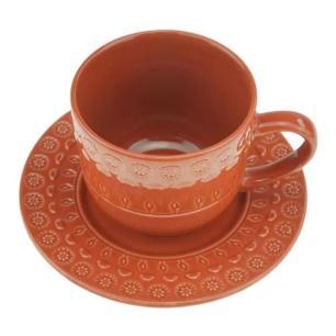 Jogo de 4 Xícara p/Chá em Porcelana 250ml Vermelho – Wolff