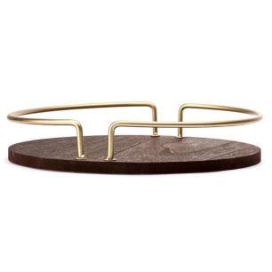Bandeja em Madeira com Alça em Metal Dourado - Ø30cm