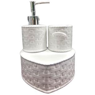 Jogo P/ Banheiro 3 Pçs em Cerâmica Branco Brush - Full Fit
