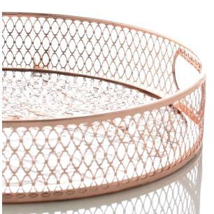 Bandeja Redonda Decorativa Espelhada em Metal Ø28cm Rose