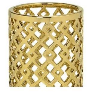 Vaso Decorativo Vazado em Cerâmica 25cm Dourado – Mabruk