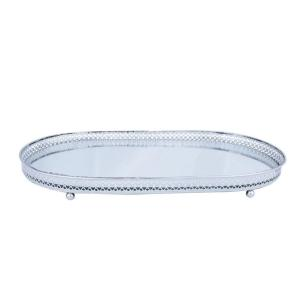 Bandeja metal com espelho oval flower edge prata peq - Urban