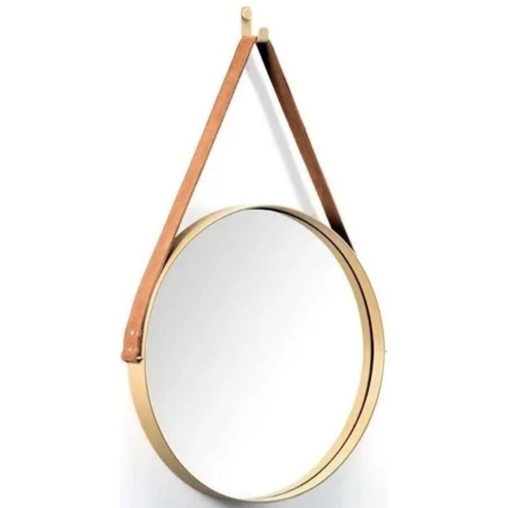 Espelho Redondo Decorativo Dourado Alça Marrom 33cm - FWB