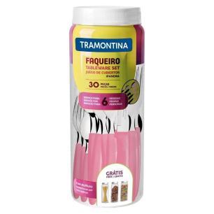 Faqueiro Ipanema Aço Inox com Pote Rosa 30 Peças Tramontina