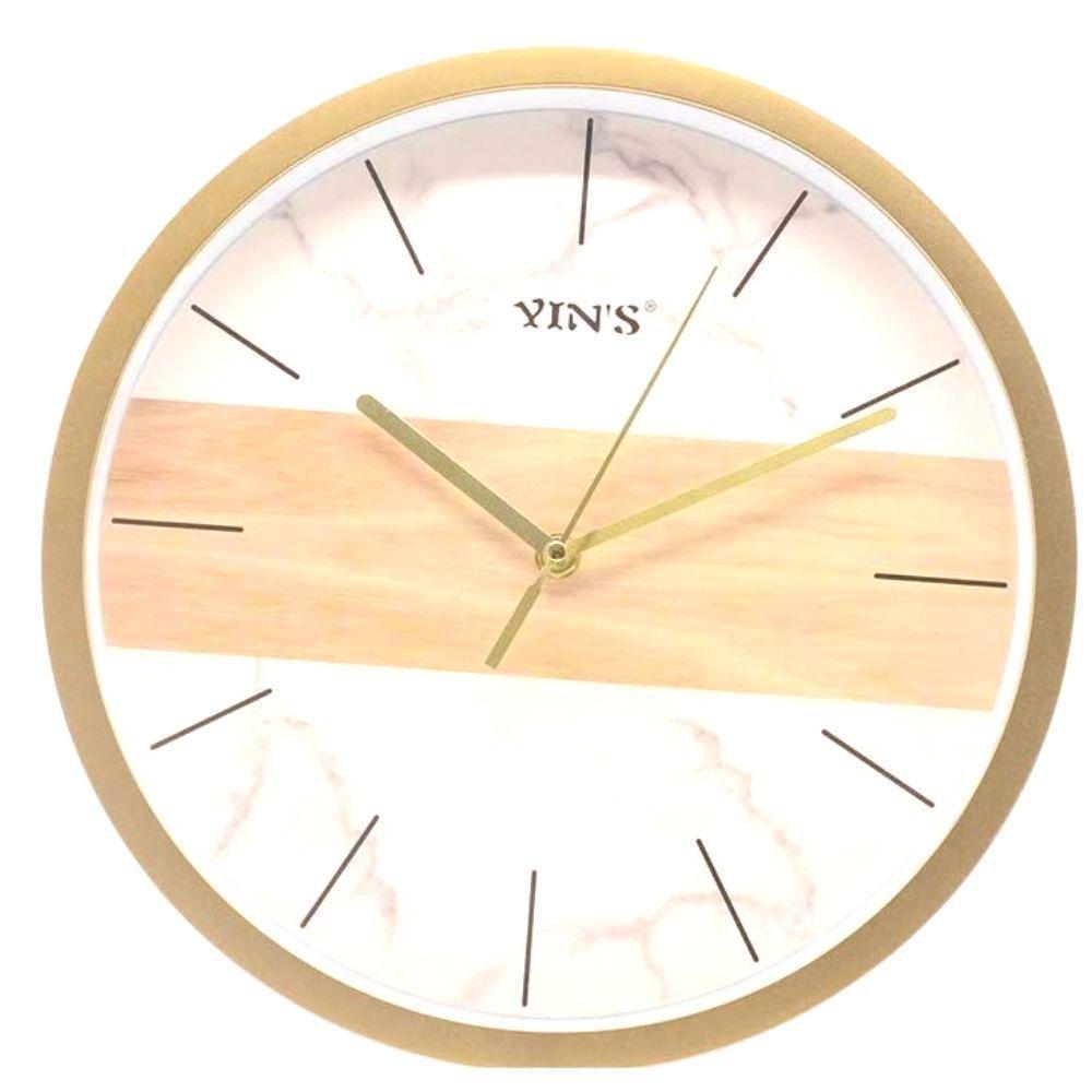 Relógio Parede Redondo Branco e Dourado- Imporiente