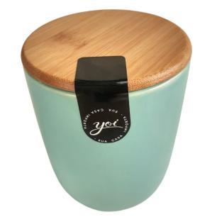 Porta Algodão Cerâmica Azul com Tampa Bambu 10 cm – YOI
