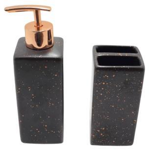 Jogo de Banheiro em Cerâmica com 2 Peças Preto - FWB