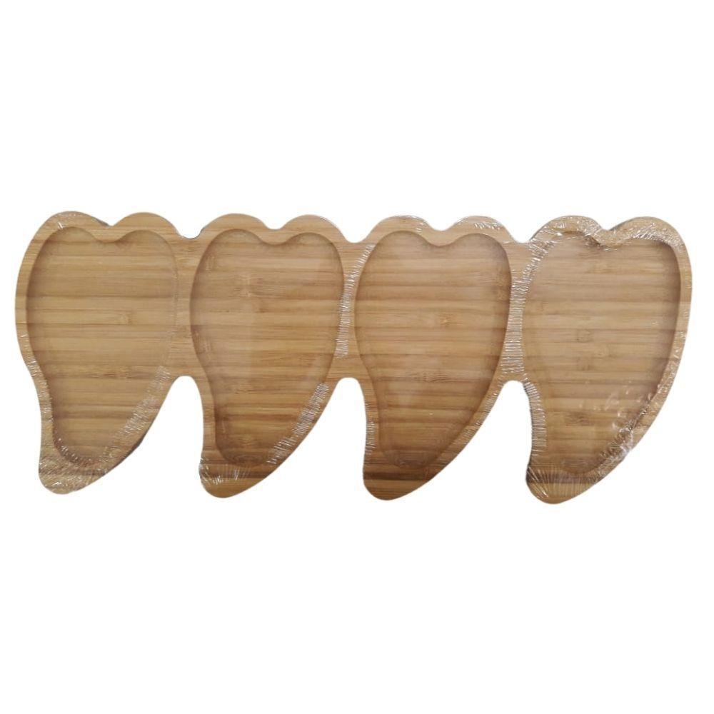 Petisqueira De Bambu Coração 4 Divisões - Amigold
