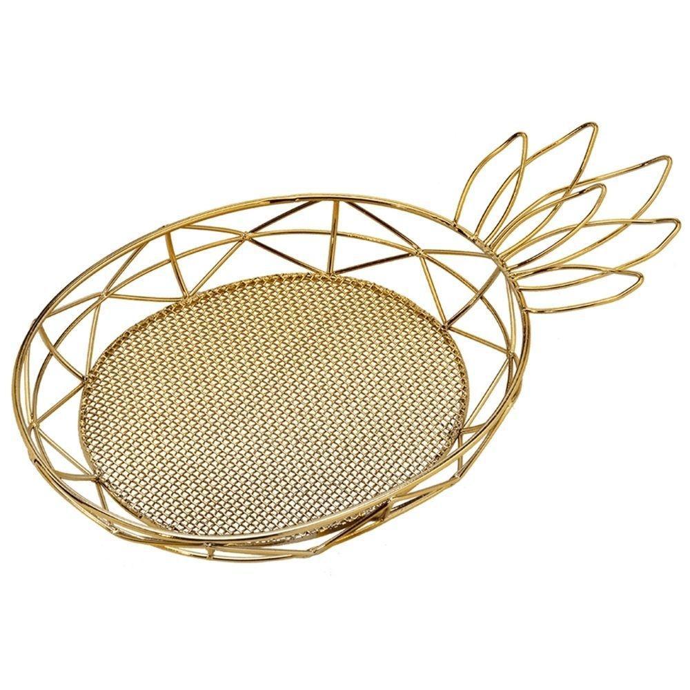 Bandeja Abacaxi em Metal Vazado 28 cm Dourado - MABRUK