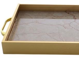 Bandeja Decorativa Retangular Dourada 48 cm Metal- Bela Flor