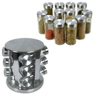 Porta Condimento Giratório em Inox c/12 Pcs Prata Mimo Style