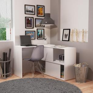 Mesa de computador 2 em 1 branco 02 portas-BRV
