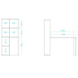 Estante com Escrivaninha BE 38 Branco 08 Nichos - BRV Móveis