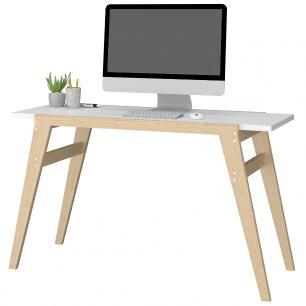 Mesa de Computador BC 79 Branco Pés Em Pinus - BRV Móveis