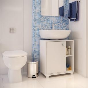 Balcão Para Banheiro BBN 01 Branco 01 Porta - BRV Móveis
