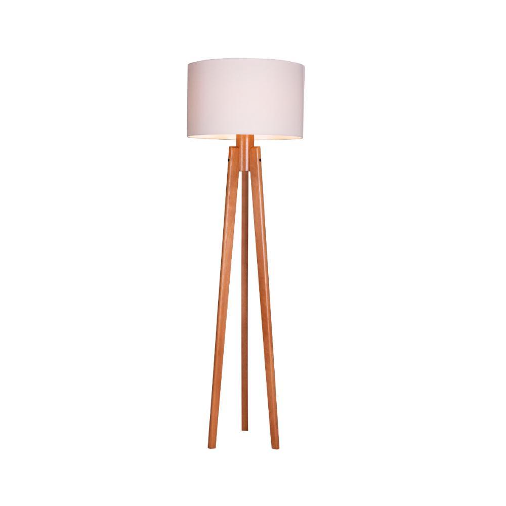 Luminária de Piso Trippé Cilíndrico Cúpula Algodão Cru Madelustre